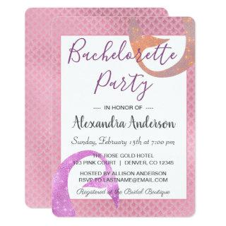 Mermaid Rose Gold Sparkle Bachelorette Party Invitation