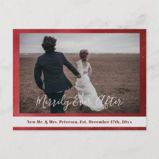 Merrily Ever After newlyweds Christmas red photo Holiday Postcard