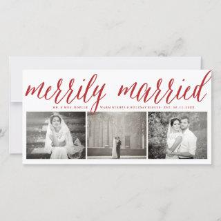 Merrily Married Mr And Mrs First Christmas 3 Photo Holiday Card
