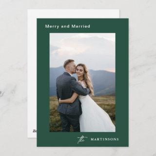 Merry and Married Calligraphy Photo Christmas Holiday Card