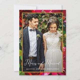 Merry and Married Floral Green Holiday Greeting