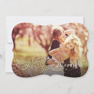 Merry and Married Glitter Star Photo Christmas Holiday Card