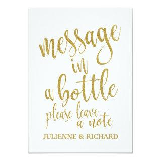 Message in a Bottle Gold Affordable Wedding Sign Invitation