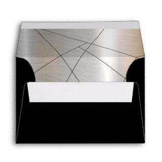 Metallic Geometric Wedding Silver/Black ID648 Envelope