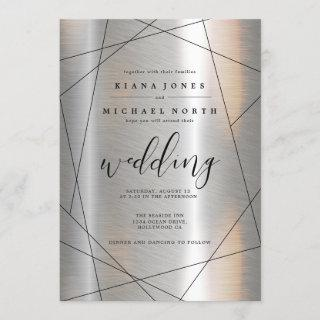 Metallic Geometric Wedding Silver/Black ID648 Invitations