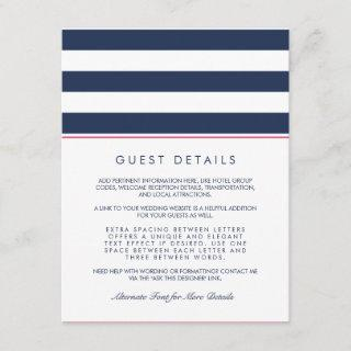 Metro Stripe Guest Information Card | Pink & Navy
