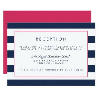 Metro Stripe Reception Card | Pink and Navy