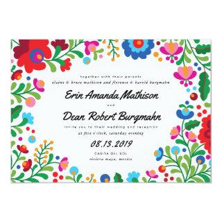 Mexican Embroidery Colorful Wedding Invitations