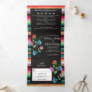 Mexican Embroidery Floral Rug Wedding Tri-Fold Invitations
