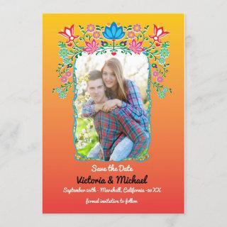 Mexican Fiesta Gold Glitter Save the Date Photo