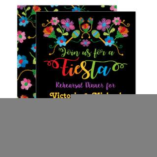Mexican Fiesta Rehearsal Dinner with embroidery Invitation