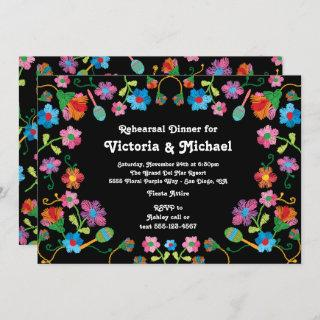 Mexican Fiesta Rehearsal Dinner with embroidery Invitations