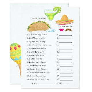 Mexican Fiesta Taco Bridal Shower Game Invitations