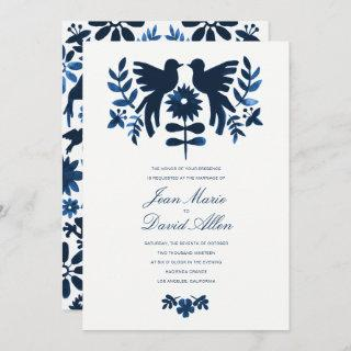 Mexican Otomi Wedding Invitations - Navy