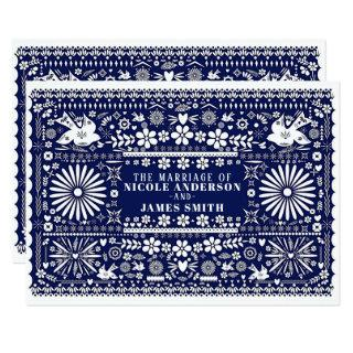 Mexican Picado Blue White Paper Wedding Marriage Invitations