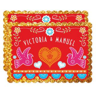 Mexican Rehearsal Dinner Papel Picado Gold Glitter Invitations
