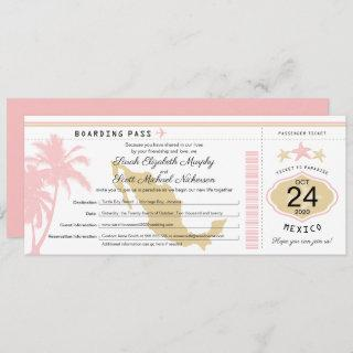 Mexico Pink Gold Boarding Pass Wedding Invitations