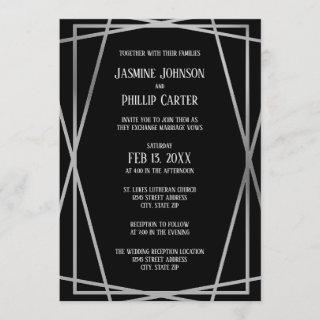 Mid Mod B&G Design- Wedding/Reception Invitation