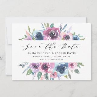 Midnight Blooms   Purple and Blue Floral Save The Date