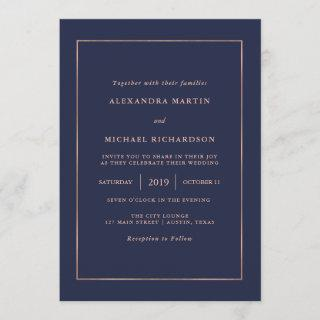 Midnight Blue and Faux Rose Gold Border Wedding Invitation