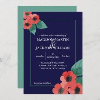 Midnight Blue Red Poppies Floral Evening Wedding Invitations