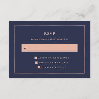 Midnight Blue with Faux Rose Gold Border RSVP
