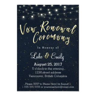 Midnight Glamour Vow Renewal Ceremony Invitation