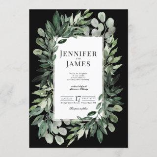 Midnight Greenery, Watercolour foliage pattern Invitation