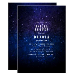 Midnight Sky & Shining Stars Galaxy Bridal Shower Invitations
