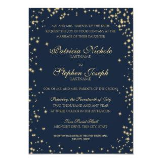 Midnight Stars Twinkle Sky Wedding Invitations