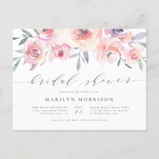 Midsummer Floral Elegant Watercolor Bridal Shower Invitation Postcard