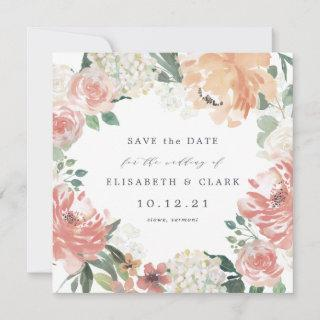 Midsummer Floral Square Save the Date Card