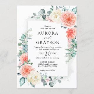 Midsummer Peach Pastel Pink Floral Wedding Invitation