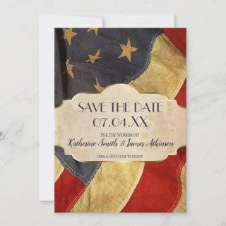 Military Wedding  Patriotic Vintage Flag Save The Date