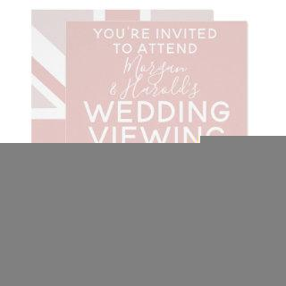 Millennial Pink UK Flag Wedding Party Invitations