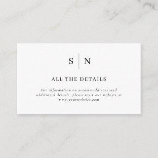 Minimal and Chic | Black and White Wedding Details Enclosure Card