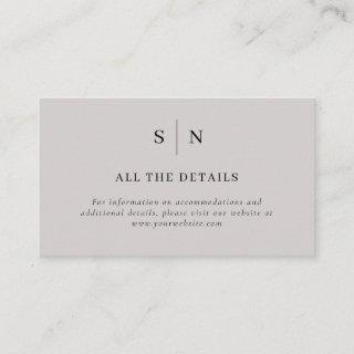Minimal and Chic | Gray and Black Wedding Details Enclosure Card