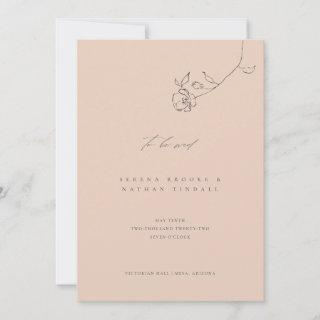 Minimal Blush Delicate Floral Wedding Invitation