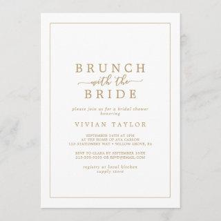 Minimal Gold Brunch with the Bride Bridal Shower Invitations