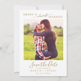 Minimal Gold Merry & Almost Married Save the Date Holiday Card