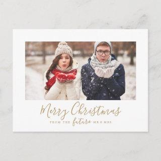 Minimal Gold Merry Christmas Save the Date Photo Holiday Postcard