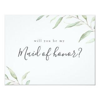 Minimal greenery will you be my maid of honor Invitations