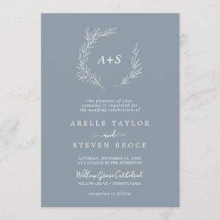 Minimal Leaf Blue & White Formal Monogram Wedding Invitations