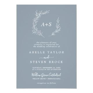 Minimal Leaf Blue & White Formal Monogram Wedding Invitation