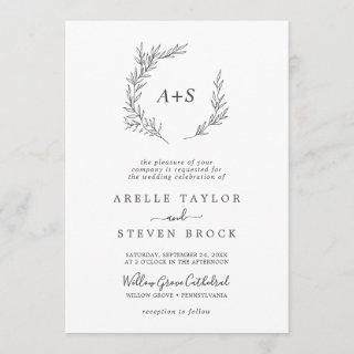 Minimal Leaf | Dark Gray Formal Monogram Wedding Invitation