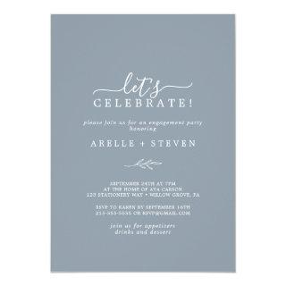 Minimal Leaf | Dusty Blue Let's Celebrate Invitation