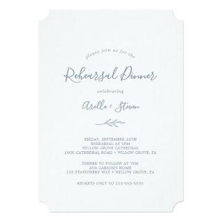 Minimal Leaf | Dusty Blue Rehearsal Dinner Invitation