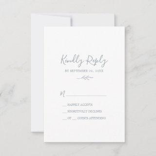 Minimal Leaf | Dusty Blue Simple RSVP Card