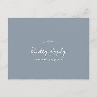 Minimal Leaf Dusty Blue Song Request RSVP Postcard