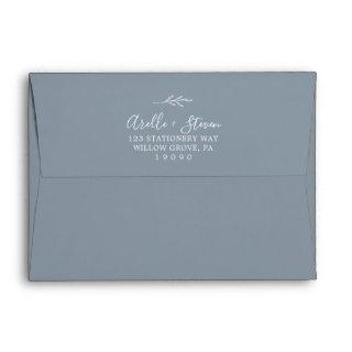 Minimal Leaf | Dusty Blue Wedding Invitations Envelope